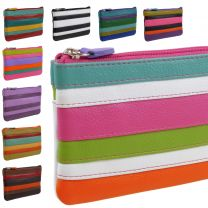 Colourful Leather Coin Purses With Integral Key Fob By iLi New York 11 Gorgeous Colours