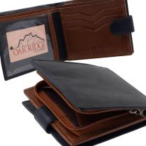 Mens Black and Brown Leather Wallet by Oakridge