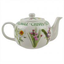 Garden Herbs Design Fine China Tea Pot by The Leonardo Gift Boxed Present 1.2 L