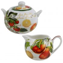 Classic Cream & Sugar Set by The Leonardo Collection Fruit Garden Bowl & Jug GIFT Boxed