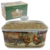 Classic Cockerel & Hen Butter Dish by The Leonardo Collection Farming Handy Kitchen Gift Boxed