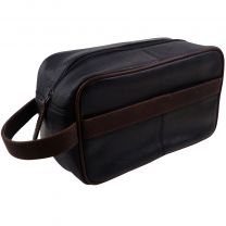 Azzurro Italiano Luxury Black and Brown Leather Toiletry Wash Bag Travel Bag