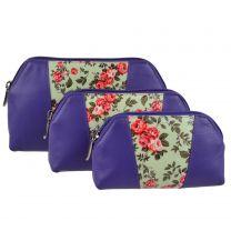 Ladies Vintage Violet Roses LEATHER Make-Up Toiletry Bag by Graffiti Golunski
