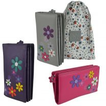 Ladies LEATHER Tall Zip Around Purse/Wallet by Mala; Cara Collection Flowers