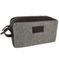 Mens Leather & Tweed Wash Bag by Mala; Abertweed Collection Gift Travel Wool
