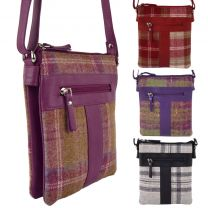 Ladies Leather & Tweed Cross Body Bag by MALA Abertweed Collection