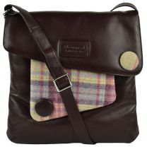 Ladies LEATHER & British Tweed Cross Body BAG by Mala; Abertweed Collection