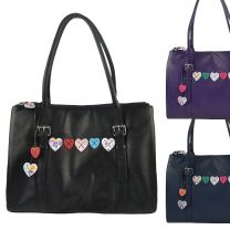 Ladies Leather Large Work Bag by Mala; Lucy Collection Heart Shoulder Handbag