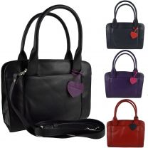 Ladies Leather Classic Grab Bag by Mala; Anishka Collection Shoulder Twin Handle