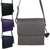 Ladies Leather Triple Section Cross Body Bag by Mala; Anishka Collection