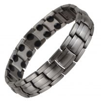 Copper Alloy Magnetic Barrel Design Bracelet by SISTO-X® Gun Metal Pewter Hi Strength 36 Magnets Double Row Therapy