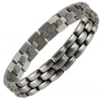 Stylish Magnetic Copper Alloy with Pewter Finish Bracelet Hi Strength NdFeB 20 Magnets Single Row Therapy