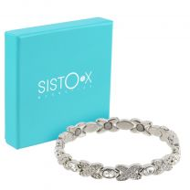 Ladies Sisto-X Magnetic Therapy Bracelet Silver Colour Clear Faux Gems Gift Boxed
