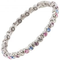 Sisto-X Ladies Magnetic Tennis Style Bracelet Pastel Colour Crystals Health 16 Magnets