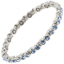Sisto-X Ladies Magnetic Tennis Style Bracelet Pale Blue Crystals Health 16 Magnets