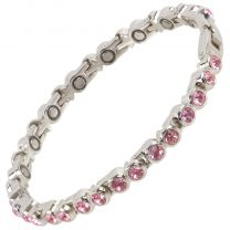 Sisto-X Ladies Magnetic Tennis Style Bracelet Fuchsia Pink Crystals Health 16 Magnets