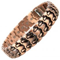 Stylish Magnetic Copper Alloy Antique Finish Chunky Bracelet Hi Strength NdFeB 26 Magnets Single Row Therapy