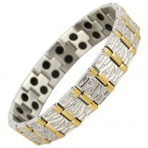 Mens Magnetic Stainless Steel Bracelet with Stylish Gold & Chrome Finish Strong MAGNETS Health NdFeB Neodymium Therapy
