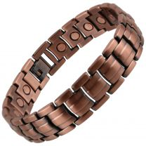 Stylish Magnetic Copper Alloy Barrel Design Bracelet Hi Strength NdFeB 21 Magnets Single Row Therapy