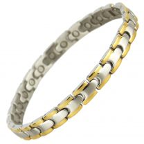 Ladies Stainless Steel Magnetic Bracelet with Gold & Chrome Finish Two-Tone Design Stylish Magnets Health Therapy