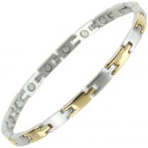 Ladies Slim Stainless Steel Magnetic Bracelet with Gold & Chrome Finish Elegant Two-Tone Design Stylish Magnets Health Therapy
