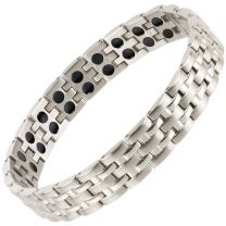 SISTO-X Mens Magnetic Stainless Steel Bracelet Chrome Finish Strong Magnets Health NdFeB Neodymium Therapy