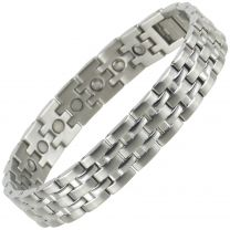 Mens Magnetic Stainless Steel Bracelet with Chrome Finish Strong Magnets Health NdFeB Neodymium Therapy