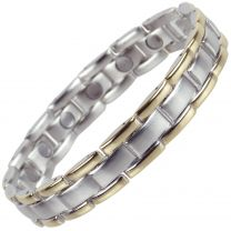 Mens Magnetic Stainless Steel Bracelet with Gold & Chrome Finish Strong MAGNETS NdFeB Neodymium Health Therapy