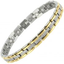 Ladies Sisto-X Titanium Magnetic Bracelet with Gold & Chrome Finish Magnet Therapy