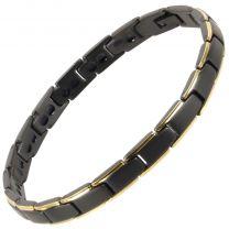 Ladies Titanium Magnetic Bracelet Black/Gold Bali Rare Earth Magnets Healing