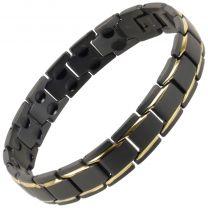 Sisto-X Mens/Ladies Titanium Bracelet in Black/Gold Peru Therapy Neodymium