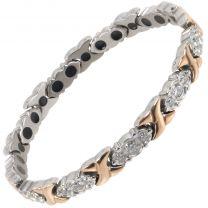 Sisto-X Ladies Titanium Magnetic Bracelet Diana Rose Gold Crystals Gift Box