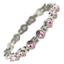 Ladies Titanium Magnetic Bracelet with Chrome & Pink Crystals Finish Stylish Magnets Health Therapy