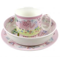 Babys First China Feeding Set by The Leonardo Collection Pink Childs Christening