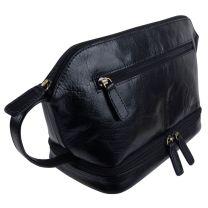Rowallan Leather Mens Black Wash Bag Travel Toiletries