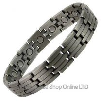 Mens Copper Alloy with Pewter Finish Magnetic Bracelet Magnet Health Therapy