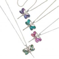 Ladies Colourful Inlaid Paua Shell Dragonfly Pendant Necklace