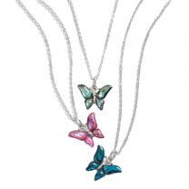 Ladies Small Colourful Inlaid Paua SHELL Butterfly Pendant NECKLACE Statement