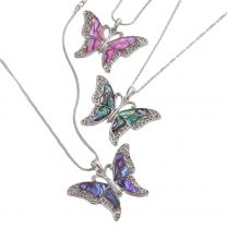 Ladies Inlaid Paua Shell & Filigree Butterfly Pendant Necklace Statement