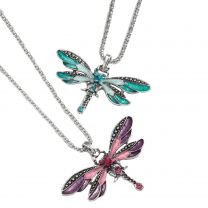 Ladies Enamel Crystal Sparkly Dragonfly Pendant Necklace on Chain Statement