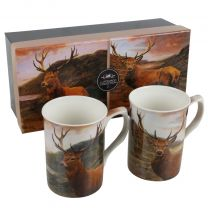 Gift Box Set of 2 China Mugs Atmospheric Stag in Scotland Design by The Leonardo Collection