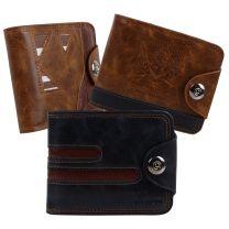 Mens Vegan Leather Card & Cash Tabbed Wallet