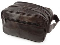 New Mens Oakridge Brown Cowhide Leather Wash Bag Travel Toiletries 2 Sections