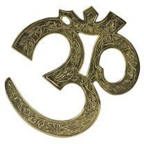 Solid Brass OM AUM Wall Plaque Hindu Buddhist Gift Present Religion