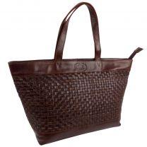 Rowallan Ladies Cognac Braided Leather Twin Handle Tote Bag with Zip Closure