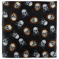 Black Fire Skull And Skull & Crossbones Bandana Bandanna Bikers Scarf