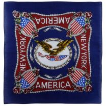 Blue Bandana Bandanna Scarf with The Eagle Rose And Other Symbols Of American Culture