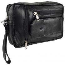 Gents Black Leather Handy Wrist Travel Pouch Manbag by Prime Hide Utility