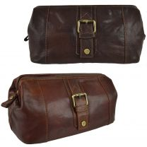Mens Compact Buffalo Leather Top Framed Wash Bag By PrimeHide Travel