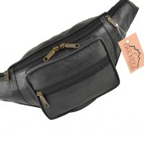 Quality Mens Ladies LEATHER Black Waist BUMBAG Travel by OAKRIDGE Fanny Pack